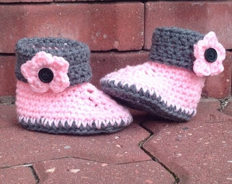 Pink Baby Booties Baby Girl Slippers with Flower Accent Crocheted