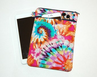 MacBook Pro 13, MacBook Air, MacBook 12, Surface Pro 3/4, iPad Pro, iPad Padded Sleeve Cover with Front Zipper Pocket - Tie Dye