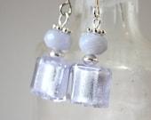 Alexandrite Murano Glass Sterling Silver Dangle Earrings with Chalcedony Handmade Artisan Jewelry