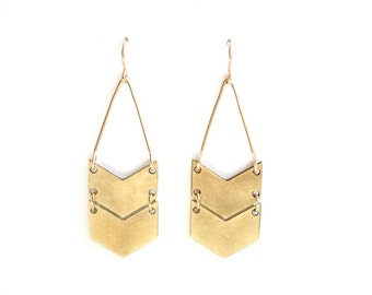 Geometric Double Chevron Earrings - Brass, Gold Fill or Sterling Silver