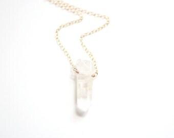 Minimalist Crystal Quartz Necklace | 14k Gold Filled Necklace | Sterling Silver Necklace | Crystal Necklace