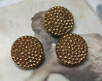 "Vintage Gold Gilded Black Glass Buttons ... Lot of 3 black pressed glass & gilded/painted buttons ... 7/8"", 22mm buttons"