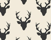 Hello Bear fabric by Bonnie Christine for Art Gallery Fabrics- Buck Forest in Night, Ivory fabric, Deer fabric,  You Choose the Cut
