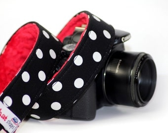 Polka Dot Camera Strap - Thats it Dot with Red Minky