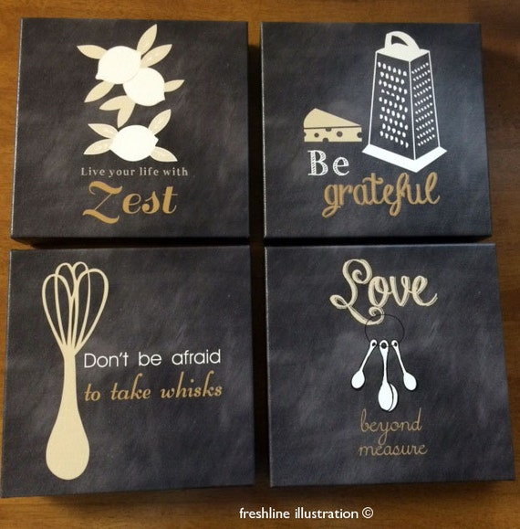 Items similar to canvas art rustic wall decor canvas set for Kitchen wall decor sets