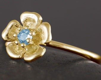 Gold flower Ring with blue topaz gemstone - Available in white rose and yellow gold 10kt 14kt 18kt