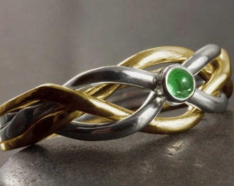 Gold puzzle ring with natural emerald cabochon - Available in 10kt, 14kt and 18kt gold, in yellow, white or/and rose gold