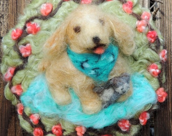 Made to order - Custom created for portrait - Needle Felted Tapestry of a pony and child wool Painting - Waldorf Inspired