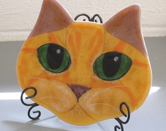 Orange Tabby Cat Face Fused Glass Art Painting Panel