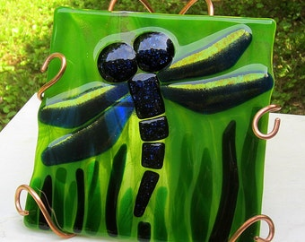 Fused Glass Blue Dragonfly Tile Panel with Custom Built Copper Display Stand