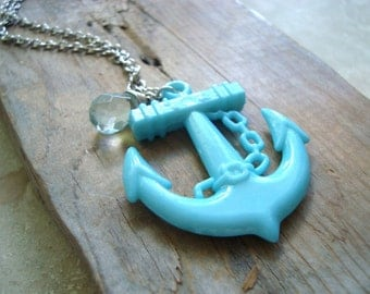 Large Anchor Necklace Aqua Blue Statement Jewelry Nautical Jewelry Summer Jewelry Silver Layering Necklace Beachy Gifts Under 30