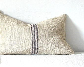Pillow/ Vintage Grainsack Pillow Triple Light Blue Stripe Lumbar Pillow French Country Cottage Chic