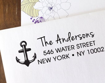 ANCHOR custom ADDRESS STAMP with proof from usa, Eco Friendly Self-Inking stamp, return address stamp, custom stamp, nautical custom stamp 1