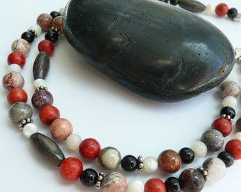 Handcrafted Unisex Picasso Jasper Silver Leaf Jasper Coral Onyx MOP Sterling Silver OOAK Colorful Rustic Boho Organic Hippie Necklace