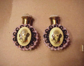 2 poodle Cameo perfume bottles with funnels 1950s style Metal