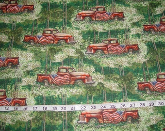 American Backroads Old Pick Up Flag July 4th Scenic Patriotic Fabric - 1 yard