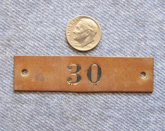Brass Locker Tag Number 30 Painted Numbered Industrial Antique Vintage ID Plate Stadium Theater Seat Basket Address Metal Hardware