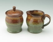 Pottery Sugar and Creamer Set Ready to Ship, 14 oz Lidded Jar and Small Pitcher in Honey Brown and Sage Green, Wheel Thrown Table Accesories