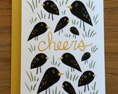 Cheers Graphic Bird Illustrated A6 Greeting Card