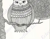 DIY COLORING Page - Instant PDF Digital Download - Printable Coloring Page - Night Owl - Adults - Children