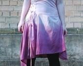 MASQ pale pink skirt deep rose skirt ombre high waist corset skirt with lace up detail, boho hippy skirt flowy skirt, art skirt
