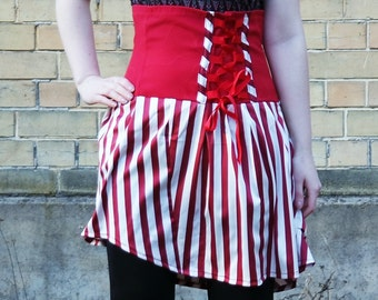 red & white skirt, candy cane skirt, high waist corset skirt with lacing, cosplay skirt, red queen skirt, Alice in wonderland skirt, MASQ
