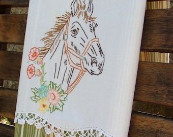 Horse Mare Equestrian Tea Towel Recycled Vintage Linen to Upcycled Dish Towel Winners Circle Rodeo Cowboy Cowgirl Chef Cook Kitchen Decor