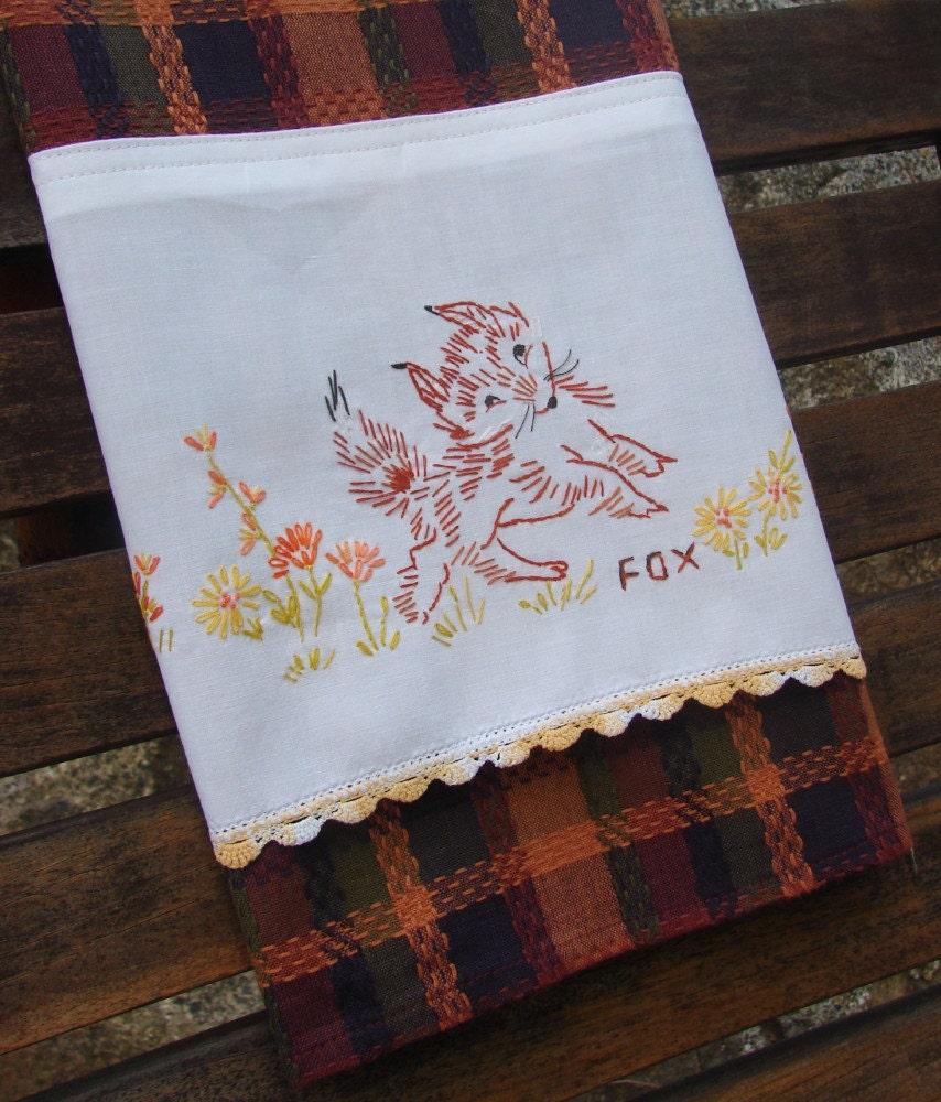 Vintage Towels: Fox Kitchen Towel Rare Recycled Vintage Linen Vintage