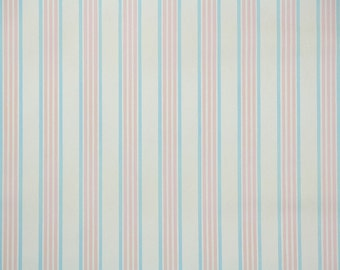 1940s Vintage Wallpaper by the Yard - Pink and White Stripe