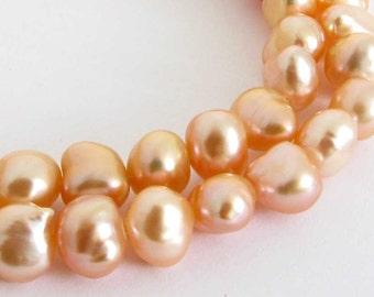 8mm Peach Freshwater Pearl Strand, Freshwater Pearls, 8 Inch Strand, Half Strand, Genuine Freshwater Pearls Pearl203