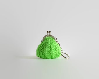 Apple Green Keychain Coin Purse, Tiny, Mini, Key Chain, Knitted Pouch, Kiss Lock, Clasp, Cute Hand Knit Items, Ready to Ship, Gifts Under 15