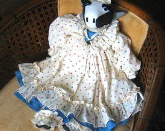 Large Country Cow Doll Dressed in Ruffled Blue and White Dress