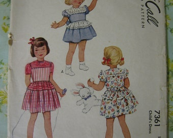 Vintage McCall 7361 Girls 1940s Dress pattern