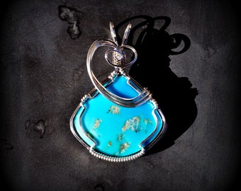 R2 SLEEPING BEAUTY turquoise pendant wire sculpted wearable art sterling wire