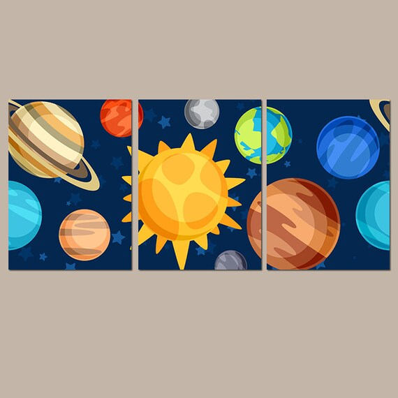 Space boy wall art canvas or prints planets outer space for Wall decor outer space