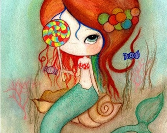 Mermaid Print Candy Gumball Girl Wall Art---Lollipop Mermaid