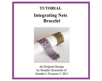 Beading Tutorial, Integrating Nets Bracelet. Instant Download PDF File. Pattern with Tila and Crystal Beads, Jewelry Making Instructions
