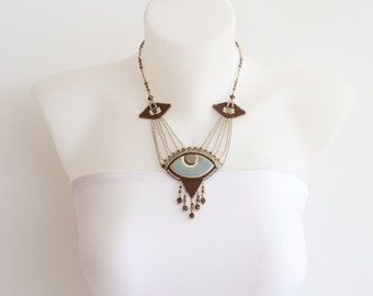 Unique OOAK Beaded Necklace with Ceramic Pendant and Fringe, in Turquoise, Brown, Gold, Beige and Green Iris. Embroidered Pendant S-294