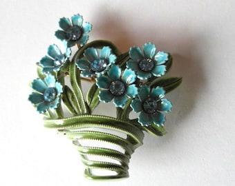 Enamel Flower Brooch with Rhinestone