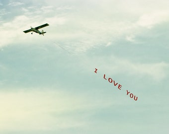 Love Photograph, I Love You Plane, Airplane Print, Romance, Pilot, Stewardess, Travel, Teal Sky, White Clouds, Wall Art Print - I Love You