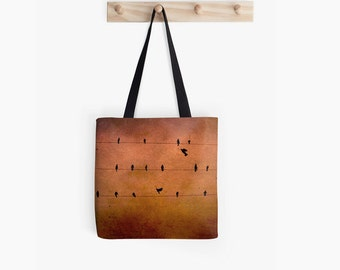 Words and Music - Tote Bag or Set of 5 note cards, Birds on Wire, Bird photo