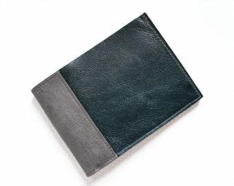 Men's Wallet, Leather Bifold Wallet, Mens Leather Wallet, Minimalist Wallet, Men's Slim Bifold Wallet - The Frankie Wallet in Emerald Green