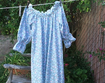 Prairie Nightgown Girls 10 - 12 Blue Pink Flowers Calico Cotton Ready Now