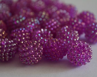 Acrylic berry beads - purple AB 15mm (6)
