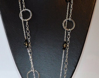 Long Chain & Crystal Necklace