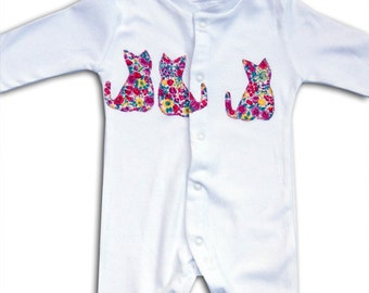 Cat Sleepsuit / Personalised Babygro / Personalized Babygrow / All in One / Baby Clothes / New Baby Gift