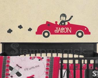 Boys Racing Cars Wall Decal with Name - Vinyl Wall Art Decor Graphics for Nursery Baby room - K197