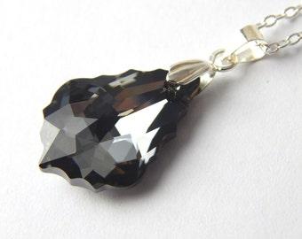 Grey Swarovski Baroque Necklace - Silver Night Crystal Swarovski Elements - Black Silver Crystal Pendant - Crystal Baroque Necklace
