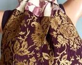 Purple Gold Spring Scarf Vintage Silk Kimono Scarf OOAK  -  Melissa