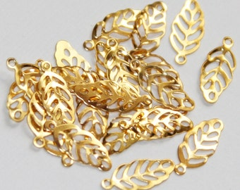 100 pcs of Gold Plated stamp leaf drops, gold stamped leaf charm, gold plated stamped leaf pendant 13x6mm